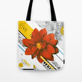 red flower collage Tote Bag