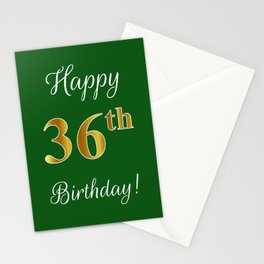 """Elegant """"Happy 36th Birthday!"""" With Faux/Imitation Gold-Inspired Color Pattern Number (on Green) Stationery Cards"""