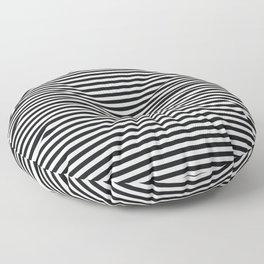 Black Linen Seashell Fine Stripe Floor Pillow