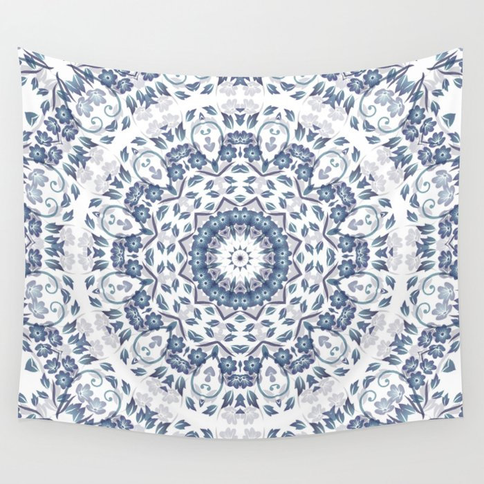 Grayish Blue White Flowers Mandala Wall Tapestry
