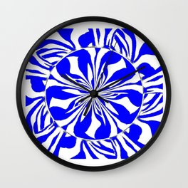 Zebra Kaleidoscope Blue and White Wall Clock