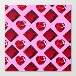 RUBY JEWELED  VALENTINE RUBY HEARTS  DESIGN Canvas Print