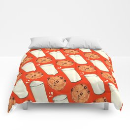 Milk & Cookies Pattern - Red Comforters