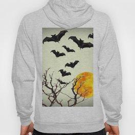 GOTHIC HALLOWEEN FULL MOON BLACK FLYING BATS DESIGN Hoody