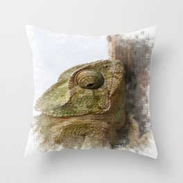 Close Up Of A Wild Green Chameleon Throw Pillow