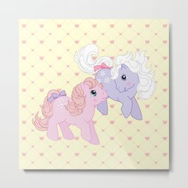 g1 my little pony babies Cotton Candy and Blossom Metal Print