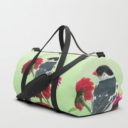 Whydah loving Zinnia flowers Duffle Bag