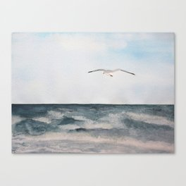 Seagull flying over the Ocean Watercolor Art Canvas Print