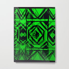 Ndebele green Metal Print