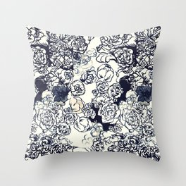 Monochrome Peonies Throw Pillow
