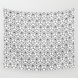 Hand Drawn Hypercube Wall Tapestry