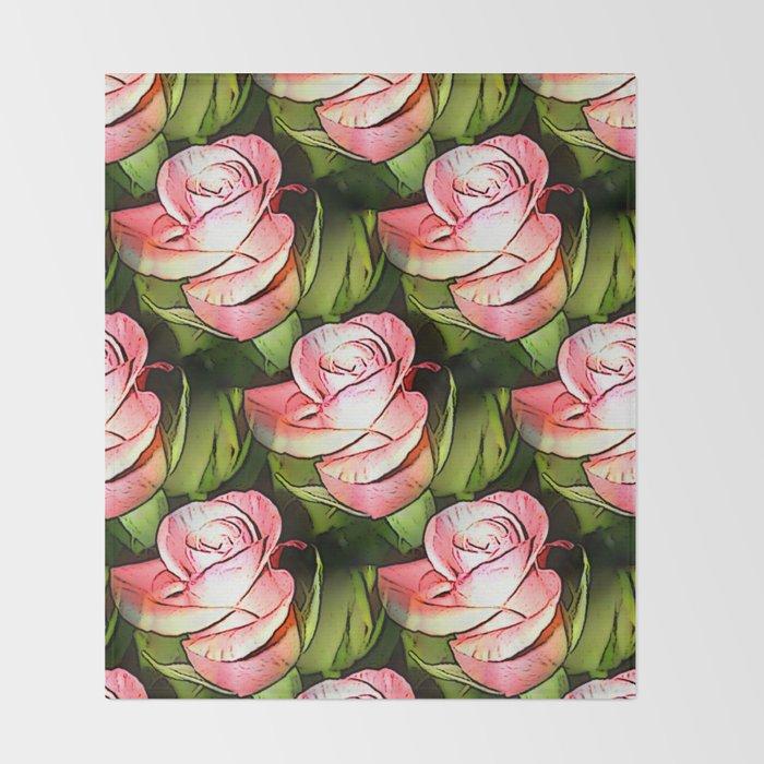 Multiplied roses Throw Blanket