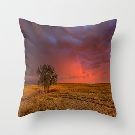 Fire Within - Red Sky and Rainbow Over Lone Tree on Great Plains Throw Pillow