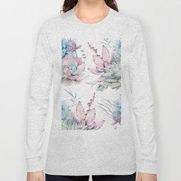 Pretty Pastel Succulents Garden 1 Long Sleeve T-shirt
