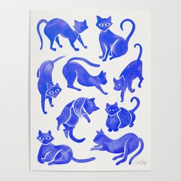 Cat Positions – Blue Palette Poster