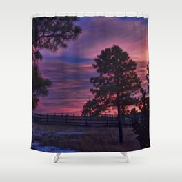 Behind The Sunset Shower Curtain