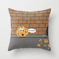 cookie Throw Pillows featuring Cookie by Laugh Your Head Off