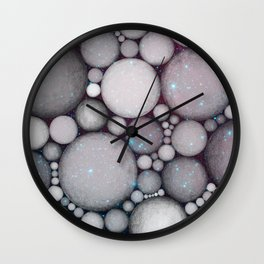 OBLIVIOUS SPHERES IN SPACE BLACK AND BLUE Wall Clock