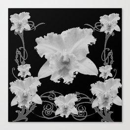 WHITE CATTLEYA ORCHIDS IN BLACK & WHITE ART Canvas Print