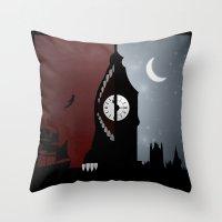 peter pan Throw Pillows featuring Peter Pan by Rowan Stocks-Moore