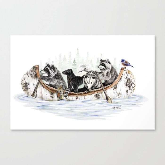 """"""" Critter Canoe """" wildlife rowing up river Leinwanddruck"""