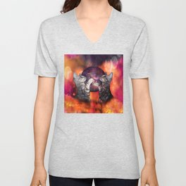 The Silver Marble Oracle Kitty Cats of the Kittyverse Unisex V-Neck