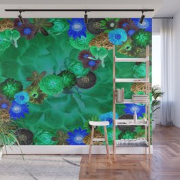 Flower explosion in green and blue Wall Mural