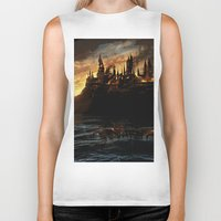 dumbledore Biker Tanks featuring Harry Potter - Hogwart's Burning by Juniper Vinetree