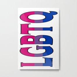 LGBTQ Bisexual Font with Flag Metal Print
