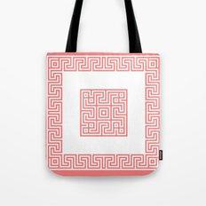 Greek Key coral Tote Bag