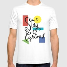 Stay Curious MEDIUM White Mens Fitted Tee