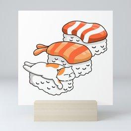 Cat and Sushi Mini Art Print