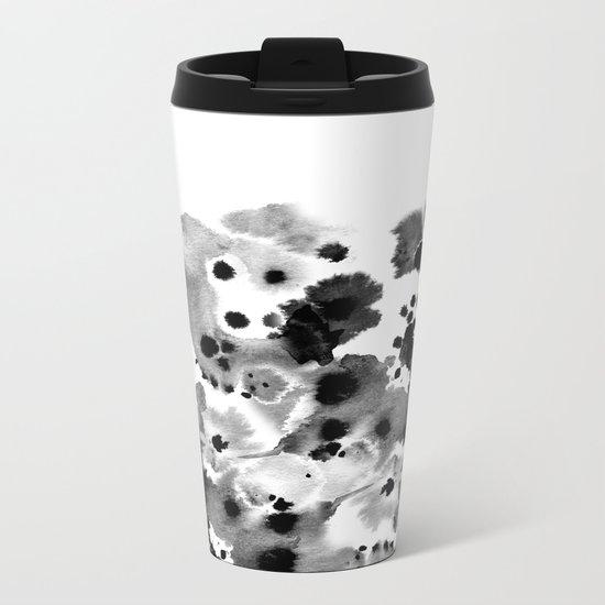 Rania - abstract black and white minimal scandi painting pattern ink Metal Travel Mug