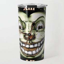 Black Cat 13 Halloween Clock Travel Mug