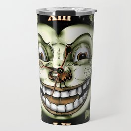 Black Cat 13 Halloween Clock Travel Mug