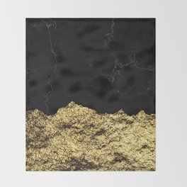 Rough Gold Torn and Black Marble Throw Blanket