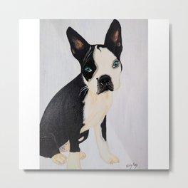 blou boston terrier artwork acrylic painting Metal Print