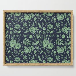 Hand Drawn Flower Pattern 4 Serving Tray