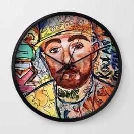 mac miller,rip,kids,drawing,painting,sketch,colourful,colorful,lyrics,rap,hiphop,art,poster,fan Wall Clock