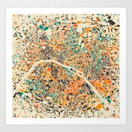 Paris mosaic map #3 Art Print