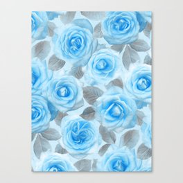 Painted Roses in Blue & Grey Canvas Print