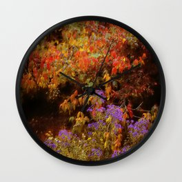 Vintage Monet-Style Autumn Floral Photo on Canvas Wall Clock