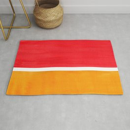 Colorful Bright Minimalist Rothko Color Field Midcentury Bright Red Yellow Squares Vintage Pop Art Rug