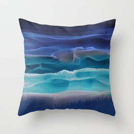 Alcohol Ink Seascape 3 - Sea at Night Throw Pillow