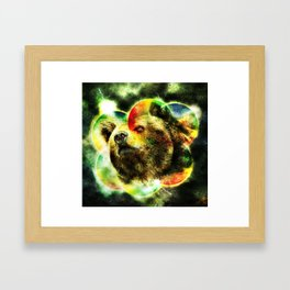 Animal - Grunge Watercolor - Bear Framed Art Print