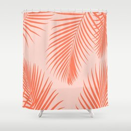 Coral Palms ~ Summer Tropical Pattern Shower Curtain