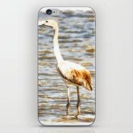 Pretty Flamingo Fledgling Watercolor iPhone Skin