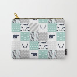 Camper antlers bears pattern minimal nursery basic navy mint white camping cabin chalet decor Carry-All Pouch