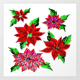 Pretty Poinsettias Art Print