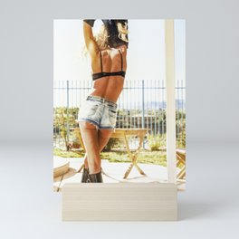 0455 Sexy Hot Model Selena in jean shorts Mini Art Print